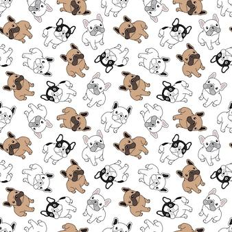 Nahtloses muster mit bulldogge-cartoon