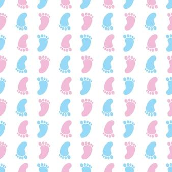 Nahtloses muster mit bunten babyfußabdrücken