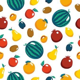 Nahtloses muster mit bunten früchten vektortextur für textilgewebepapier veganer bauernhof