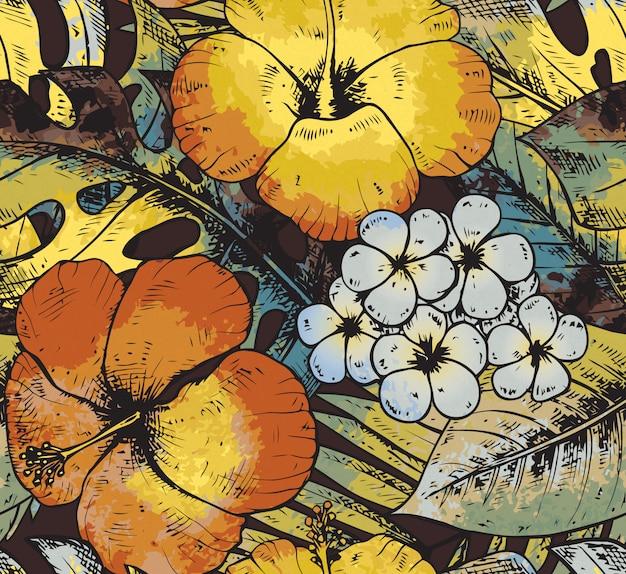 Nahtloses muster mit bunten handgezeichneten tropischen pflanzen und fl