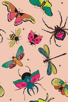 Nahtloses muster mit bunten insekten. vektorgrafiken.