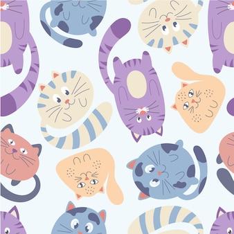 Nahtloses muster mit bunten katzen auf weißem hintergrund. perfekt für kinderdesign, stoffe, verpackungen, tapeten, textilien, wohnkultur.