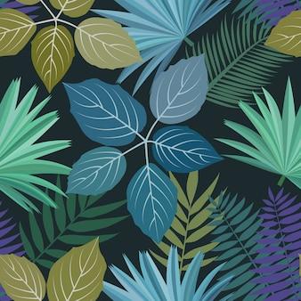 Nahtloses muster mit bunten tropischen blättern und pflanzen