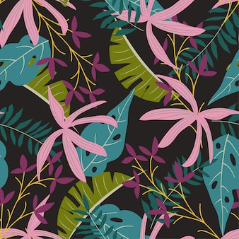 Nahtloses muster mit bunten tropischen pflanzen