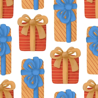 Nahtloses muster mit bunten weihnachtsgeschenken