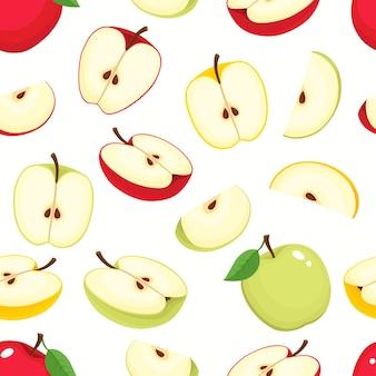 Nahtloses muster mit cartoon-äpfeln