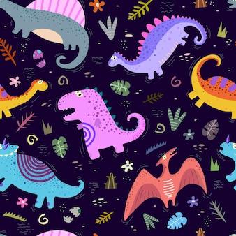 Nahtloses muster mit cartoon-dinosauriern