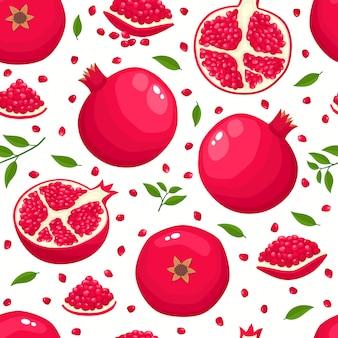 Nahtloses muster mit cartoon-granatäpfeln isoliert auf weißer, heller scheibe der leckeren früchte. illustration für magazin, buch, poster, karte, menücover.