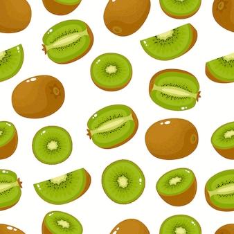 Nahtloses muster mit cartoon-kiwi isoliert auf weißer, heller scheibe der leckeren früchte