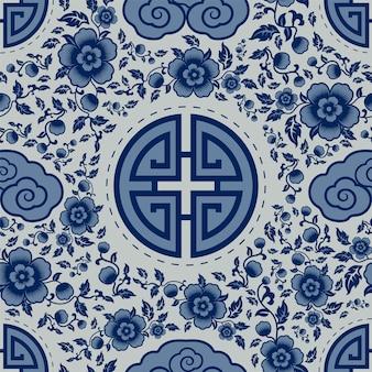 Nahtloses muster mit chinesischen ornamenten