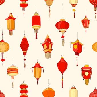 Nahtloses muster mit chinesischen straßenlaternen