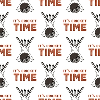 Nahtloses muster mit cricket-elementen. tapete mit sportmuster. vektor lokalisierte illustration auf weißem hintergrund für paketprodukt, t-shirts und anderes design.