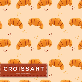 Nahtloses muster mit croissantbrot