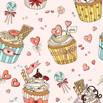 Nahtloses muster mit cupcakes