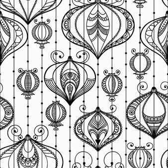 Nahtloses muster mit dekorativen elementen. illustration mit feierlichen laternen