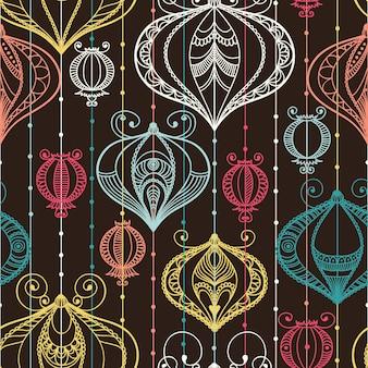 Nahtloses muster mit dekorativen elementen. illustration mit festlichen laternen