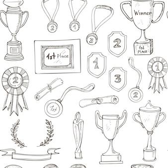Nahtloses muster mit dekorativer skizze auszeichnung mit trophäe, medaille, gewinnerpreis, championpokal, band.