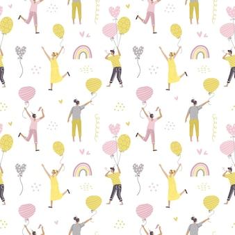 Nahtloses muster mit dem feiern von leuten, die auf bunten geburtstagsballons fliegen