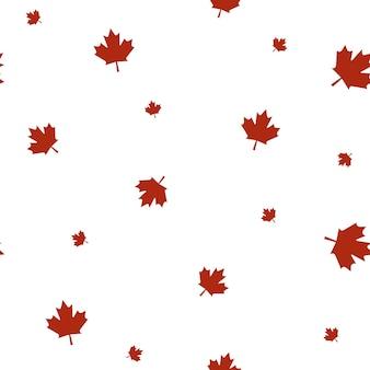 Nahtloses muster mit dem kanadischen flaggensymbol ahornblatt in roten und weißen farben