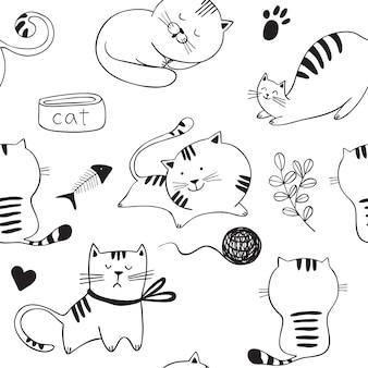 Nahtloses muster mit dem spielen von katzen