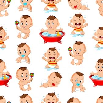 Nahtloses muster mit den glücklichen babys, welche die tätigkeiten tun