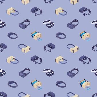 Nahtloses muster mit den headsets der virtuellen realität