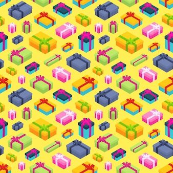 Nahtloses muster mit den isometrischen farbigen geschenkboxen