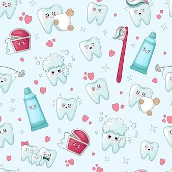 Nahtloses muster mit den kawaii zähnen mit unterschiedlichem emoji