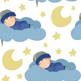 Nahtloses muster mit den mondsternen und einem baby, das in einer kappe auf einer wolke schläft