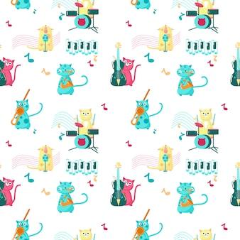 Nahtloses muster mit den niedlichen kleinen katzen, die musikinstrumente spielen und singen.