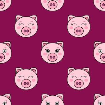 Nahtloses muster mit den niedlichen rosa schweinen