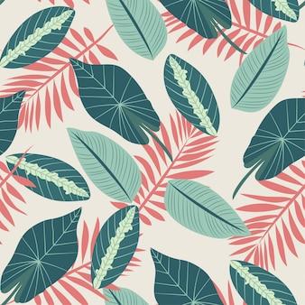 Nahtloses muster mit den roten und grünen tropischen pflanzen