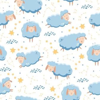 Nahtloses muster mit den schlafenden schafen, die über den sternenklaren himmel fliegen.