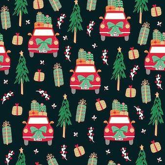 Nahtloses muster mit der ikone der frohen weihnachten.