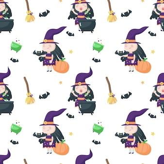 Nahtloses muster mit der niedlichen kleinen halloweenhexe