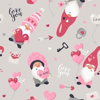 Nahtloses muster mit der valentinstaggnomenillustration