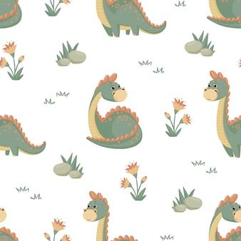 Nahtloses muster mit dinosaurierfelsen und -blumen