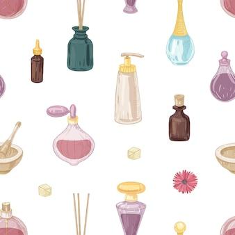 Nahtloses muster mit duftenden kosmetika, parfums in glasflaschen, mörser und stößel, räucherstäbchen auf weißem hintergrund. elegante handgezeichnete vektorgrafik im vintage-stil für packpapier.