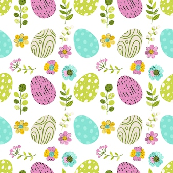 Nahtloses muster mit eiern und grünen kräutern