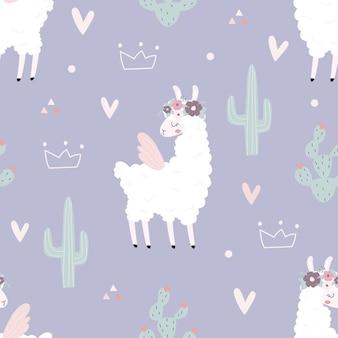 Nahtloses muster mit einem lama auf einem lila hintergrund vektorillustration zum drucken auf stoff