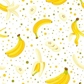 Nahtloses muster mit einem satz bananen lokalisiert auf einem weißen hintergrund. cartoon-stil.