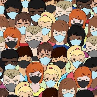 Nahtloses muster mit einer reihe von personen in medizinischen masken, junge männer und frauen, isolieren auf einem weißen hintergrund. stoppen sie das coronavirus.