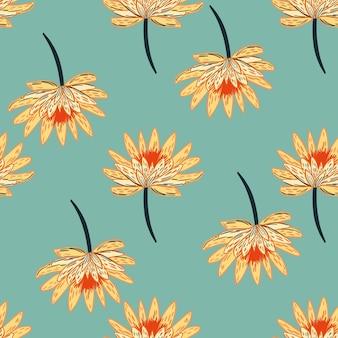 Nahtloses muster mit einfachen orange gänseblümchenblumen
