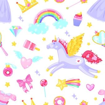 Nahtloses muster mit einhorn, herzen, kleid, süßigkeit, wolken, regenbogen