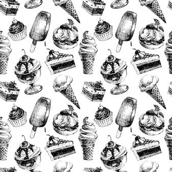 Nahtloses muster mit eis und kuchen. hand gezeichnete skizzenvektorillustration