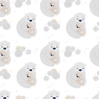 Nahtloses muster mit eisbären, mutter und baby umarmung und blumen