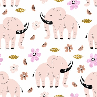 Nahtloses muster mit elefanten und handgezeichneten elementen