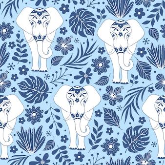 Nahtloses muster mit elefanten und tropischen blumen