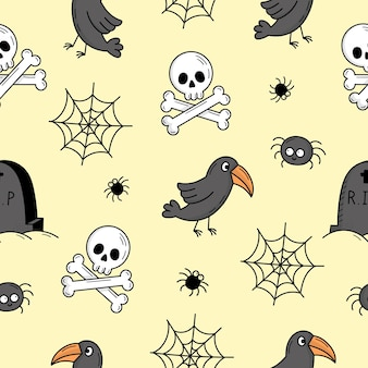 Nahtloses muster mit elementen für halloween. mystische gruselige objekte. katzen, kürbisse, geister, trank. illustration im doodle-stil