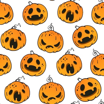 Nahtloses muster mit emotionalen kürbissen für halloween